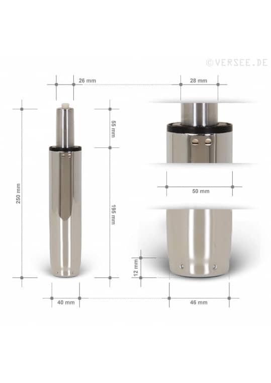 Gasdruckfeder Chrom 100mm Hub