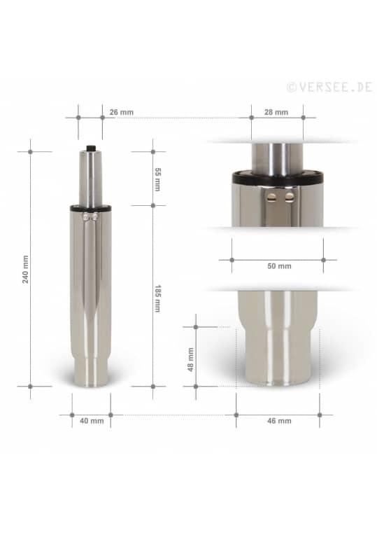 Gasdruckfeder Chrom 85mm Hub - TÜV geprüft