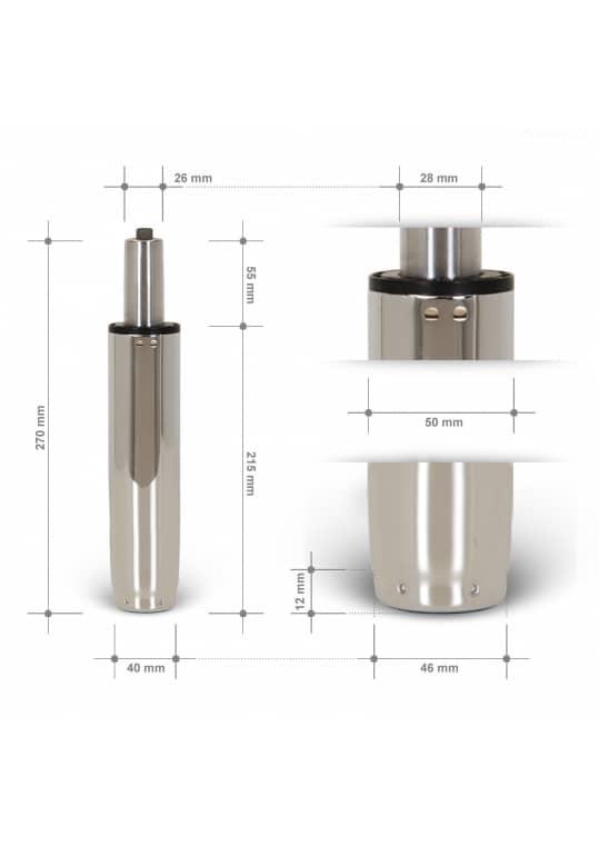 Gasdruckfeder Chrom 120mm Hub - TÜV geprüft
