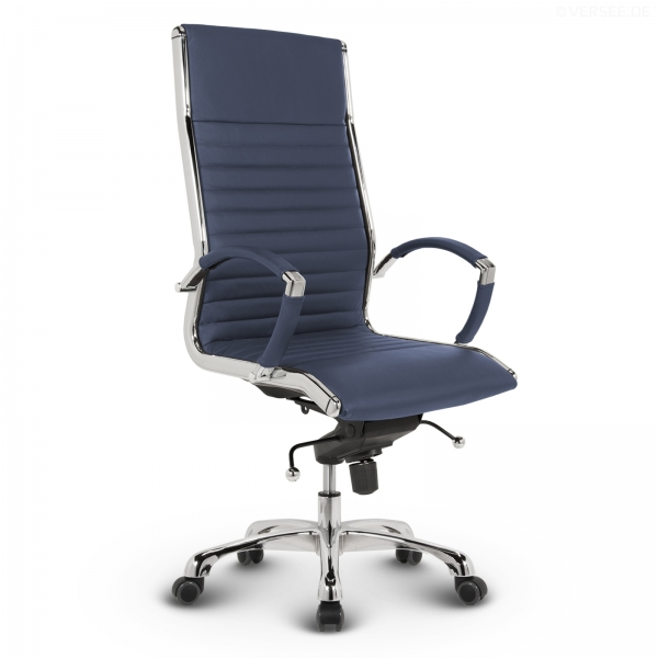 Montreal Design Chefsessel Leder Blau