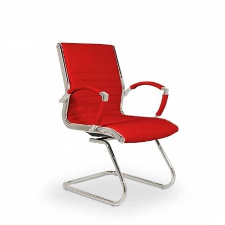 Montreal Design Besucherstuhl Konferenzstuhl Leder Rot