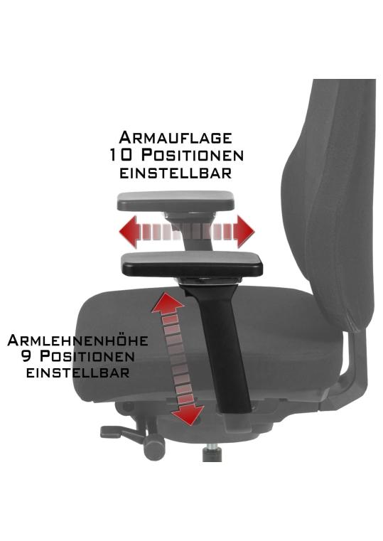 Naros Profi+ Bürostuhl Stoff Schwarz
