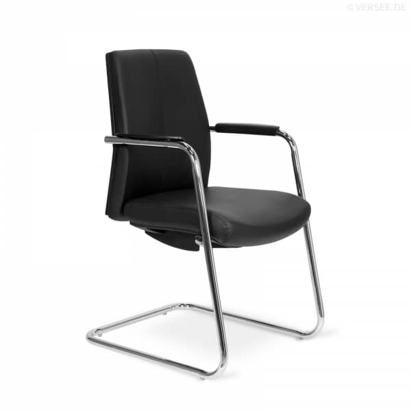 R02 Besucherstuhl - B-Ware Leder Schwarz