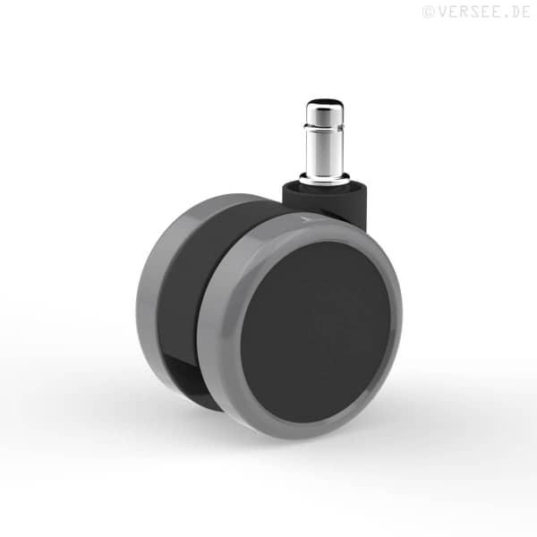 Hartbodenrollen Ø 65mm (5 Stk.) Schwarz / Grau (Polyurethanbandage)
