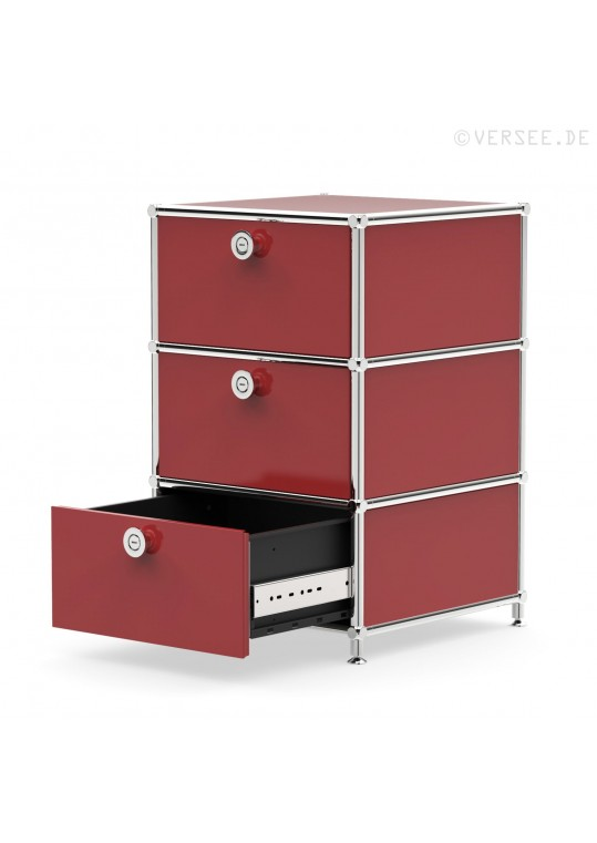 Standcontainer 05001 - 3 x Schublade Metall purpurrot
