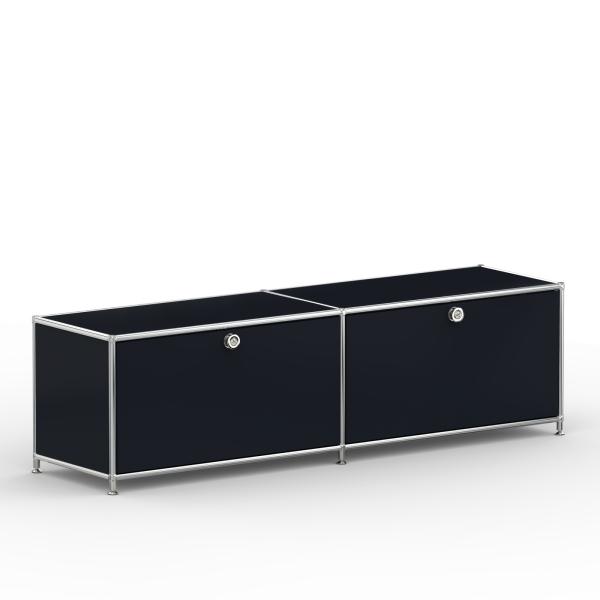 Lowboard 01002 - 2 x Klappe - Metall - Graphitschwarz (RAL 9011)