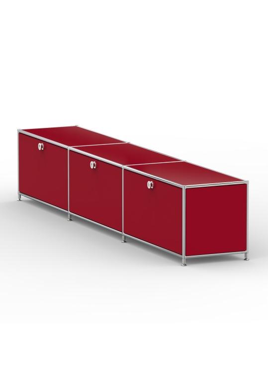 Lowboard 01003 - 3 x Klappe Metall rubinrot