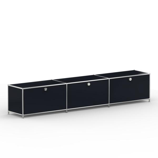 Lowboard 01003 - 3 x Klappe - Metall - Graphitschwarz (RAL 9011)