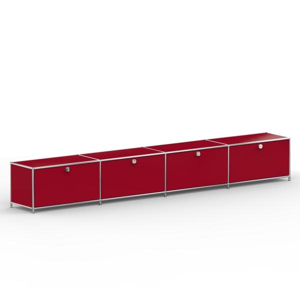 Lowboard 01004 - 4 x Klappe Metall rubinrot
