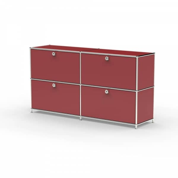 Sideboard 02002 - 4 x Klappe Metall rubinrot