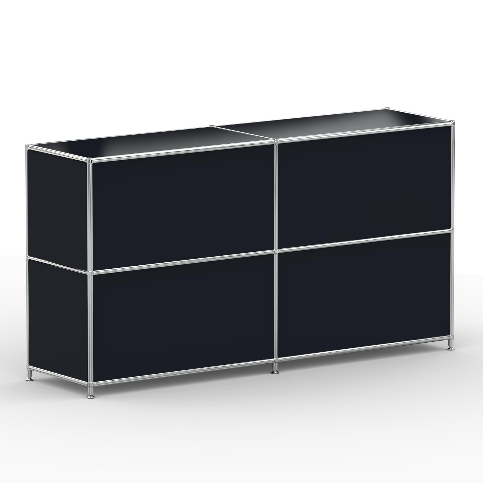 Sideboard 4xklappe Metall Graphitschwarz Versee