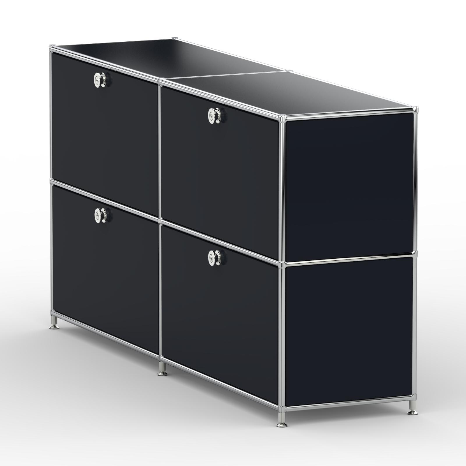 sideboard 4xschublade metall graphitschwarz versee. Black Bedroom Furniture Sets. Home Design Ideas