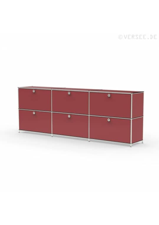 Sideboard 02103 - 6 x Schublade Metall rubinrot