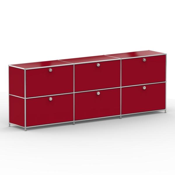 Sideboard 02003 - 6 x Klappe Metall rubinrot