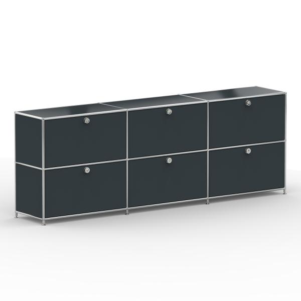 Sideboard 02003 - 6 x Klappe Metall anthrazitgrau