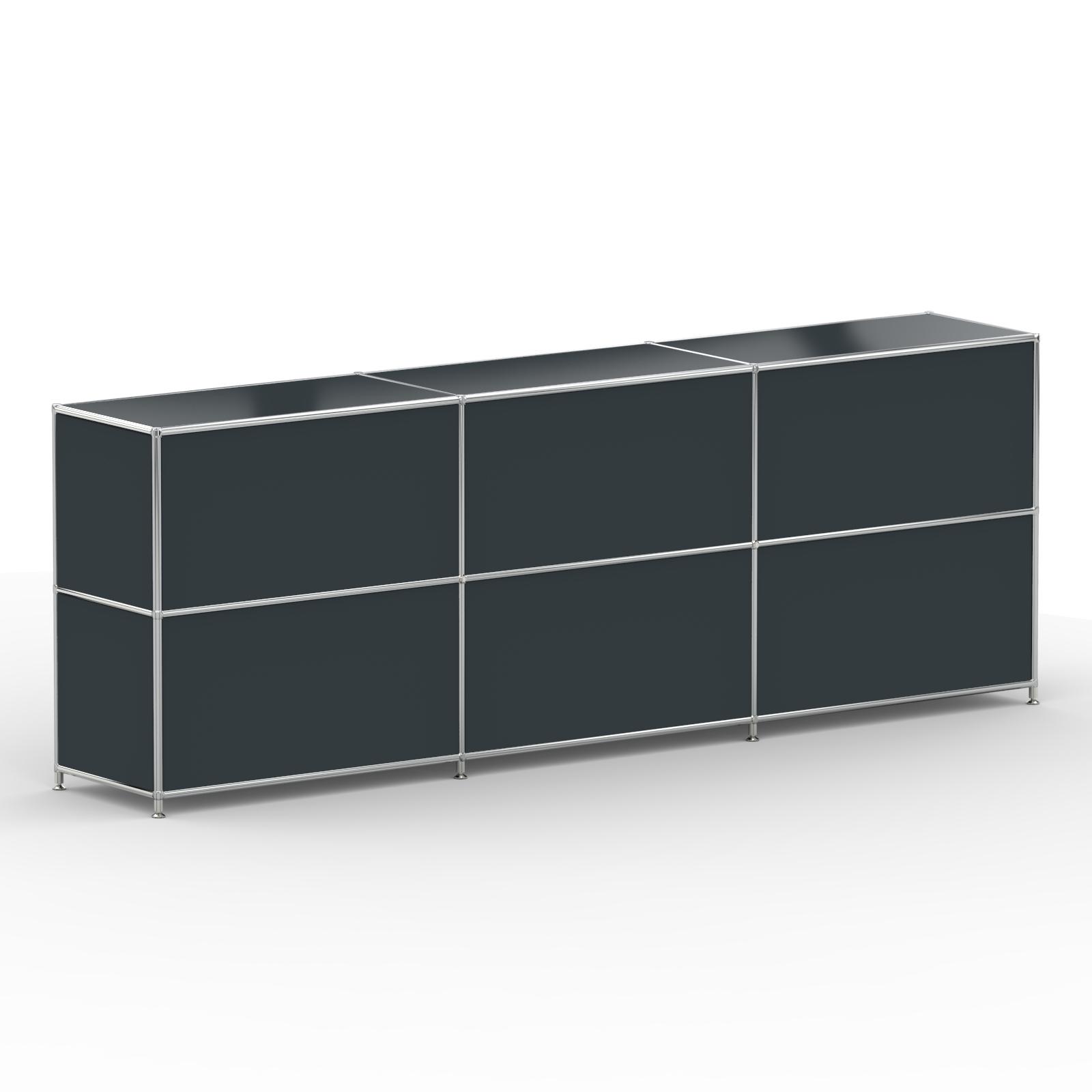 Sideboard 6xschublade Metall Anthrazitgrau Versee