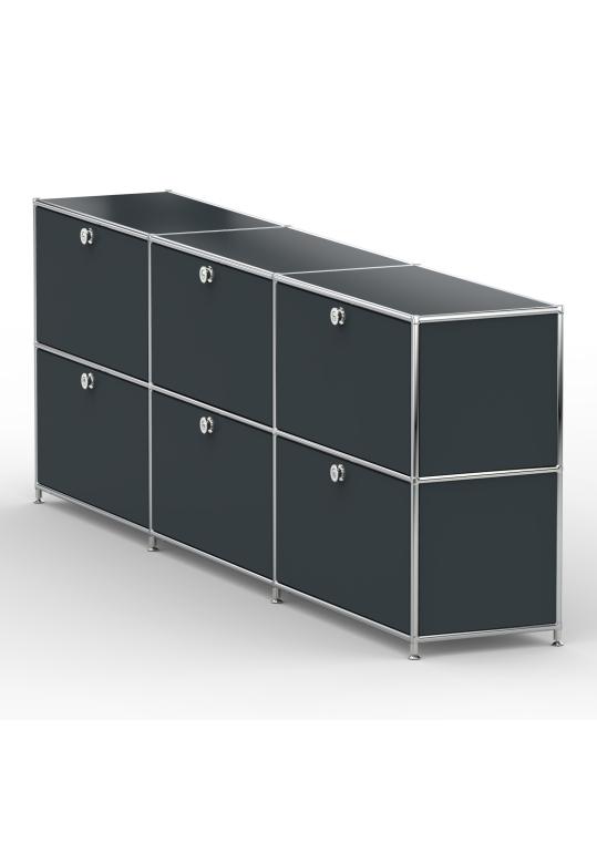 Sideboard 02103 - 6 x Schublade Metall anthrazitgrau