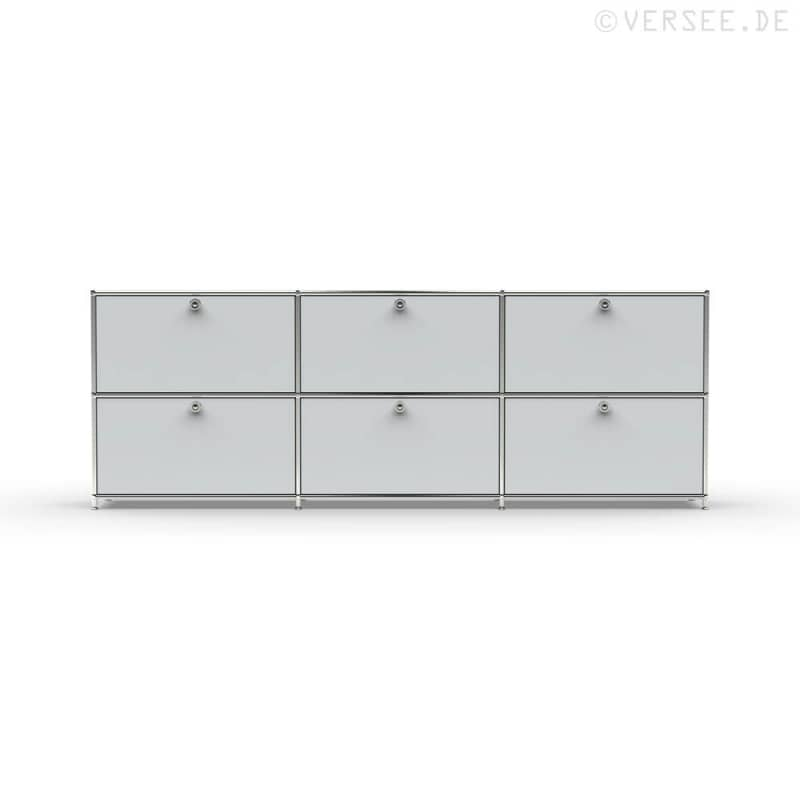 Sideboard 02103 6 X Schublade Metall Lichtgrau