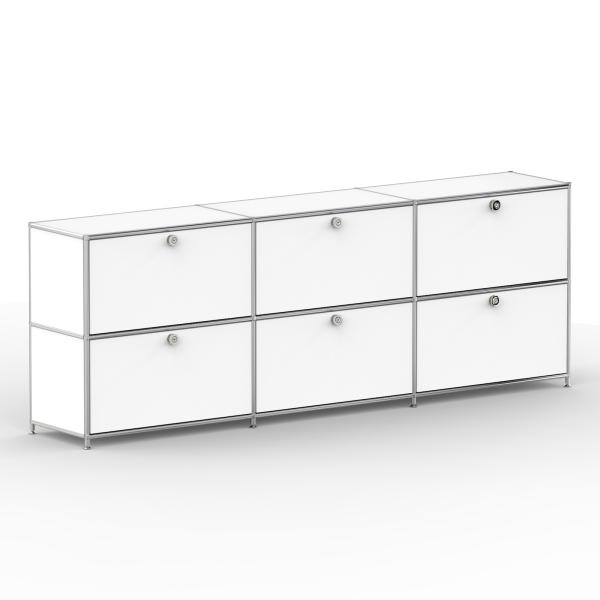 Sideboard 02103 - 6 x Schublade Metall signalweiss