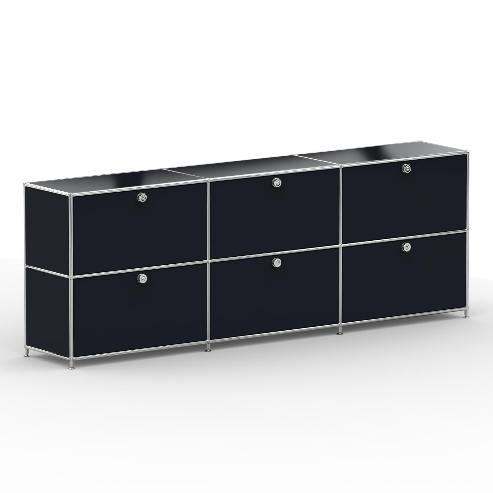 sideboard 6xschublade metall graphitschwarz versee. Black Bedroom Furniture Sets. Home Design Ideas