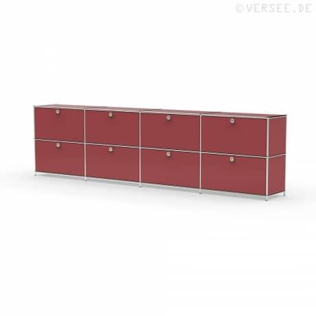 Sideboard 02104 - 8 x Schublade Metall rubinrot