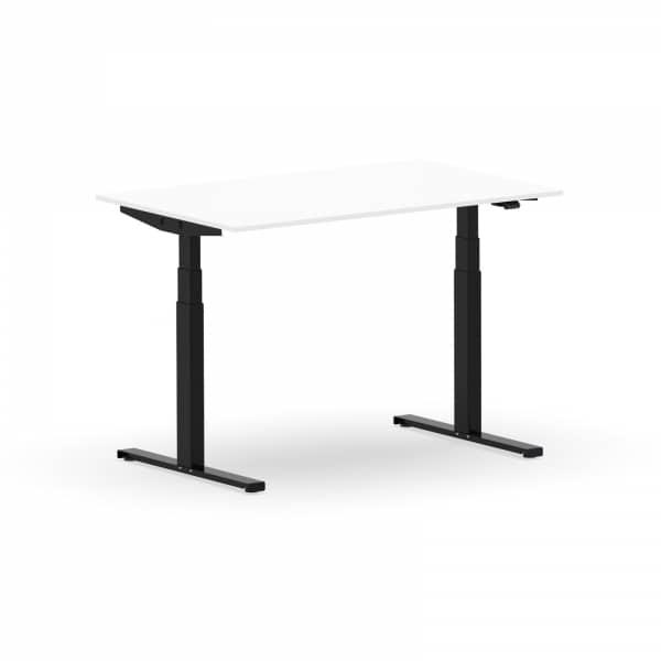 Elektrischer Schreibtisch VES1 - 140 x 90cm Gestell Schwarz Dekor Weiss