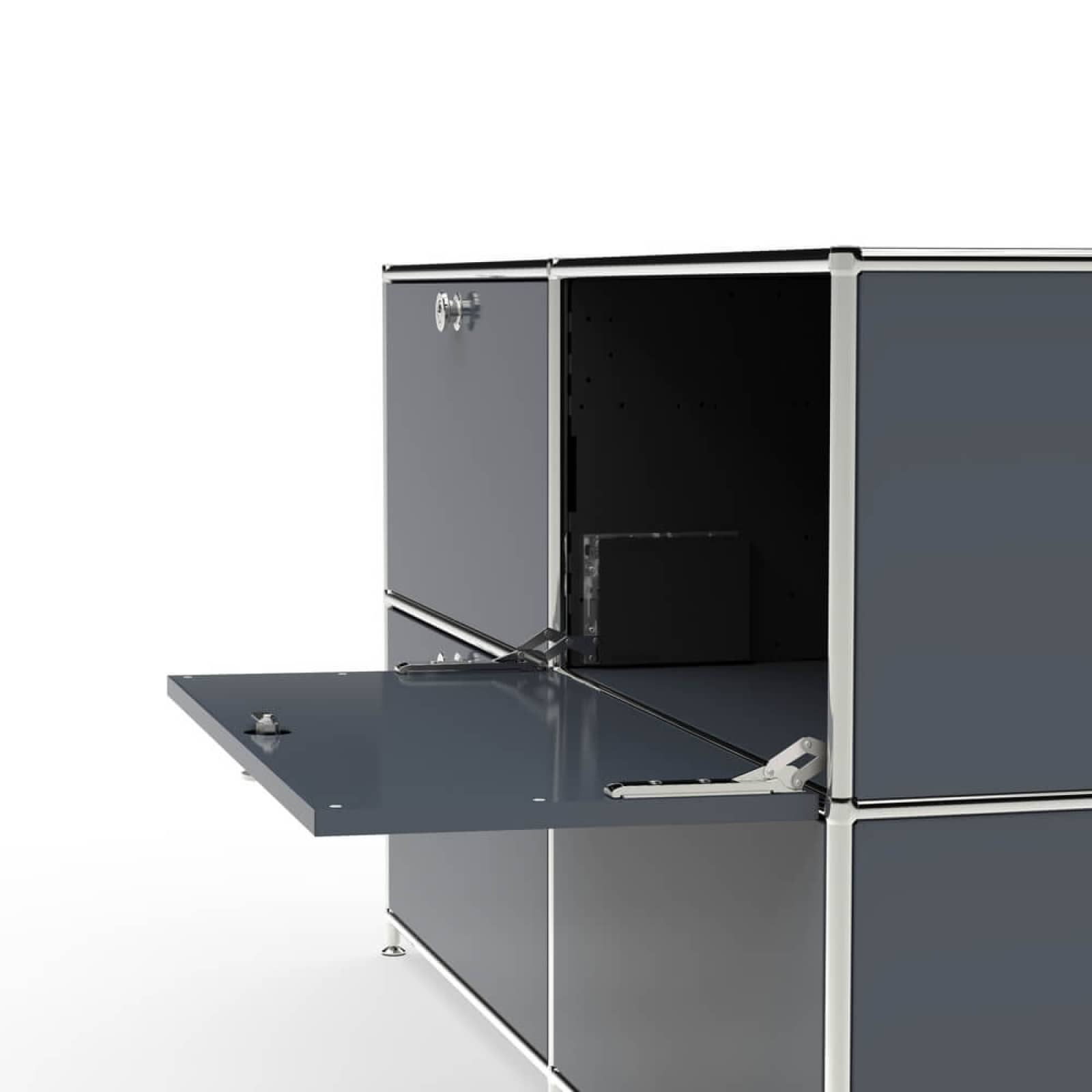 sideboard regal system schrank b roschrank klappe metall chrom system8x 2003 ebay. Black Bedroom Furniture Sets. Home Design Ideas