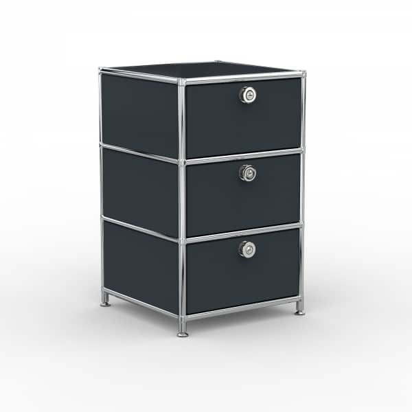 Standcontainer - Design 40cm - 3xES (ASF) - Metall - Anthrazitgrau (RAL 7016)