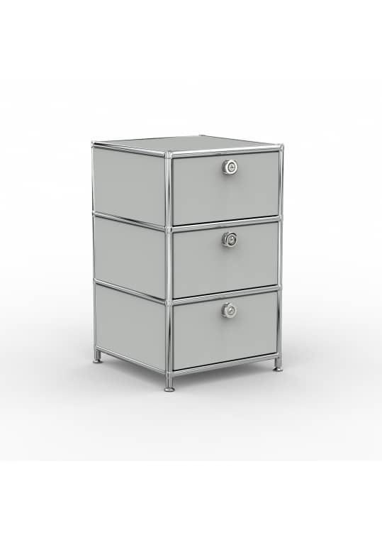 Standcontainer - Design 40cm - 3xES (ASF) - Metall - Lichtgrau (RAL 7035)