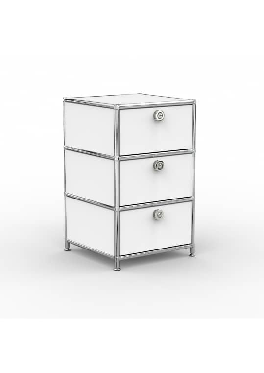 Standcontainer - Design 40cm - 3xES (ASF) - Metall - Signalweiss (RAL 9003)