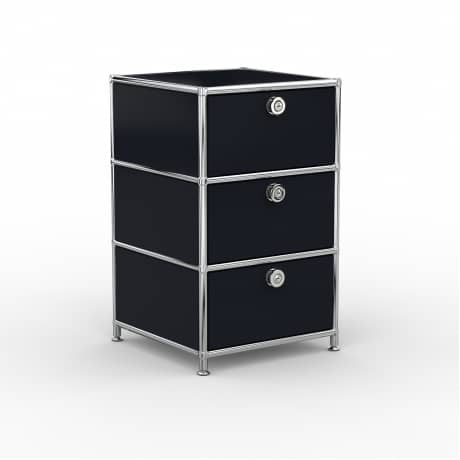 Standcontainer - Design 40cm - 3xES (ASF) - Metall - Graphitschwarz (RAL 9011)