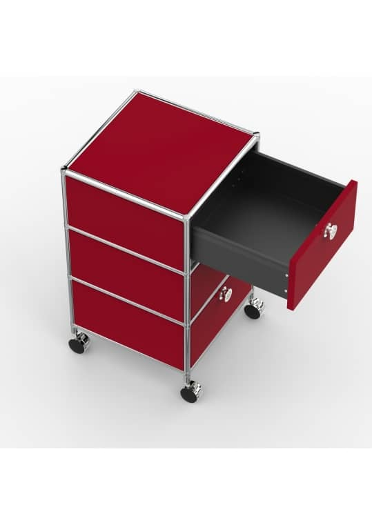 Rollcontainer - Design 40cm - 3xES (AWR) - Metall - Rubinrot (RAL 3003)