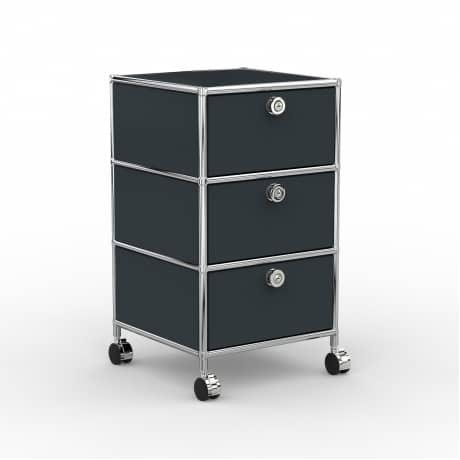 Rollcontainer - Design 40cm - 3xES (AWR) - Metall - Anthrazitgrau (RAL 7016)