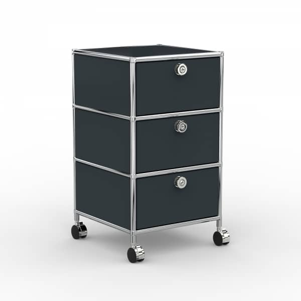 Rollcontainer - Design 40cm - 3xES (AWR) - Metall - Anthrazitgrau (RAL 7016)
