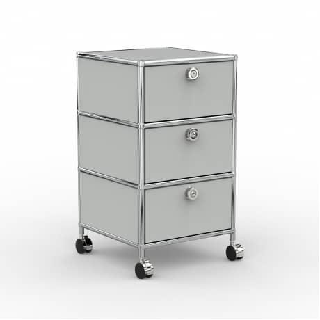 Rollcontainer - Design 40cm - 3xES (AWR) - Metall - Lichtgrau (RAL 7035)