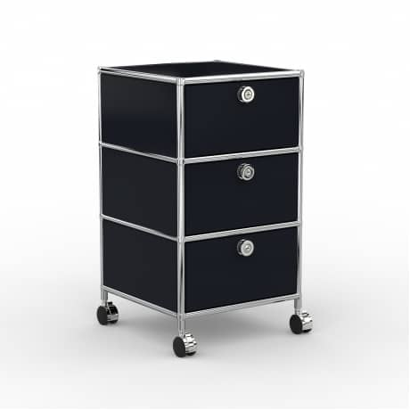Rollcontainer - Design 40cm - 3xES (AWR) - Metall - Graphitschwarz (RAL 9011)
