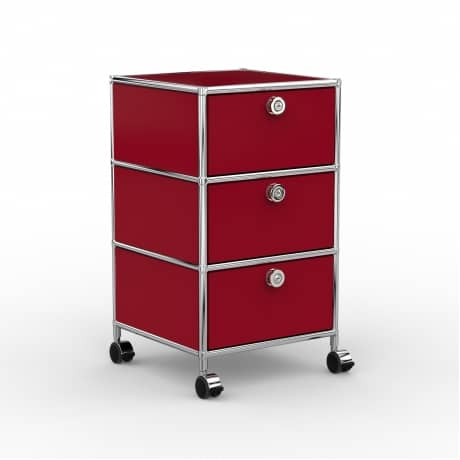 Rollcontainer - Design 40cm - 3xES (AHR) - Metall - Rubinrot (RAL 3003)