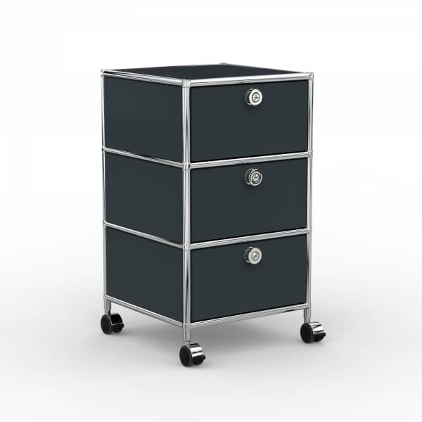 Rollcontainer - Design 40cm - 3xES (AHR) - Metall - Anthrazitgrau (RAL 7016)