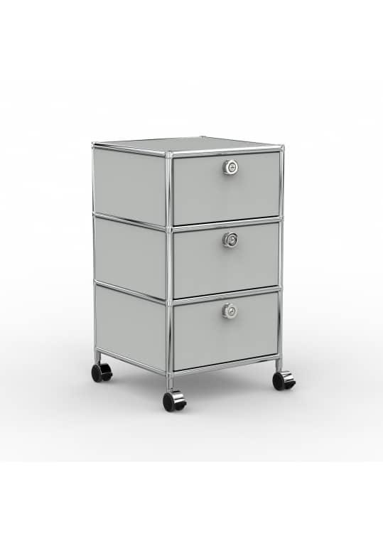 Rollcontainer - Design 40cm - 3xES (AHR) - Metall - Lichtgrau (RAL 7035)