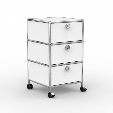 Rollcontainer - Design 40cm - 3xES (AHR) - Metall - Signalweiss (RAL 9003)