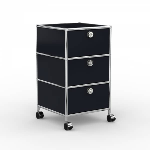 Rollcontainer - Design 40cm - 3xES (AHR) - Metall - Graphitschwarz (RAL 9011)