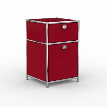 Standcontainer - Design 40cm - 1xES 1xES2 (ASF) - Metall - Rubinrot (RAL 3003)