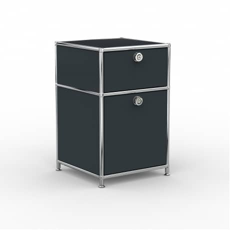 Standcontainer - Design 40cm - 1xES 1xES2 (ASF) - Metall - Anthrazitgrau (RAL 7016)