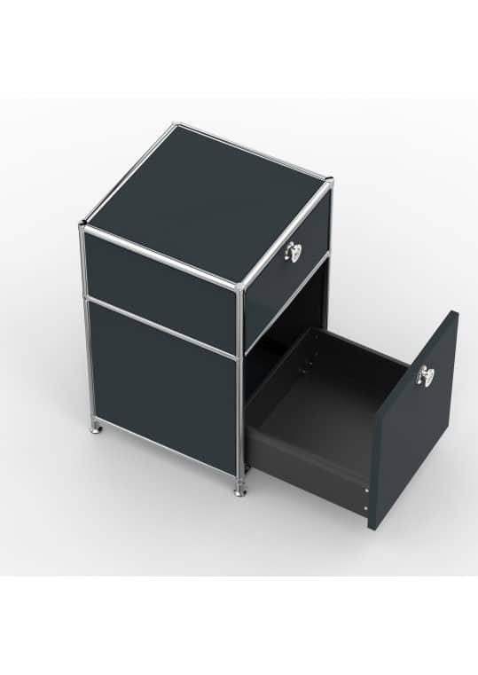 Standcontainer - Design 40cm - 1xES 1xES2 (ASF) - Metall - Anthrazitgrau (RAL 7016)