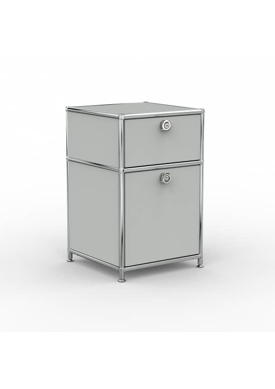 Standcontainer - Design 40cm - 1xES 1xES2 (ASF) - Metall - Lichtgrau (RAL 7035)
