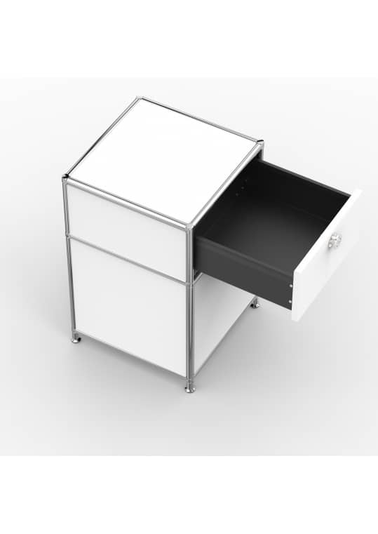 Standcontainer - Design 40cm - 1xES 1xES2 (ASF) - Metall - Signalweiss (RAL 9003)