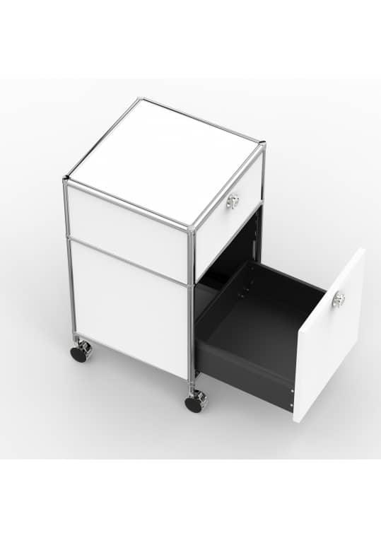 Rollcontainer - Design 40cm - 1xES 1xES2 (AWR) - Metall - Signalweiss (RAL 9003)