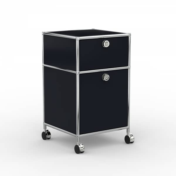 Rollcontainer Design 40cm - 1xES 1xES2 (AWR) - Metall - Graphitschwarz (RAL 9011)