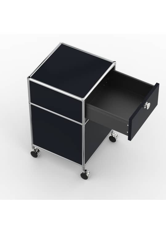 Rollcontainer - Design 40cm - 1xES 1xES2 (AWR) - Metall - Graphitschwarz (RAL 9011)