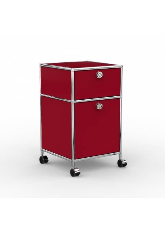 Rollcontainer - Design 40cm - 1xES 1xES2 (AHR) - Metall - Rubinrot (RAL 3003)
